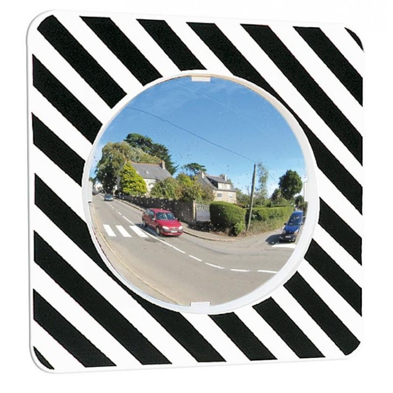 Miroir rond avec cadre noir et blanc