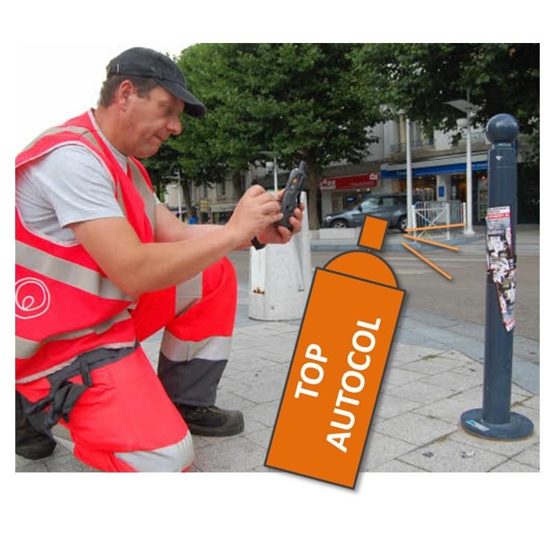 Top autocol, solubilisant des adhesifs, idéal pour retirer autocollants et affichettes sur le mobilier urbain